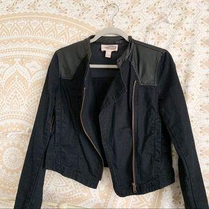 Cropped Black Faux Leather Jacket